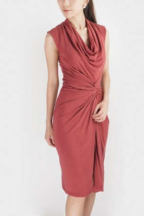 Donna Twisted Drape Dress - Blush Red