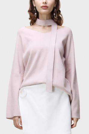Amari Flare Sleeved V-Neck Sweater - Pink