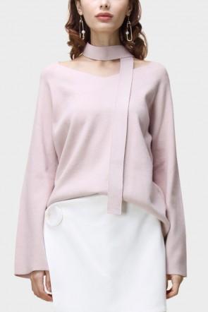 Amari Flare Sleeved V-Neck Sweater - Pink