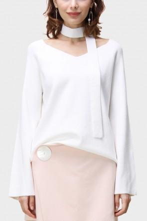 Amari Flare Sleeved V-Neck Sweater - White