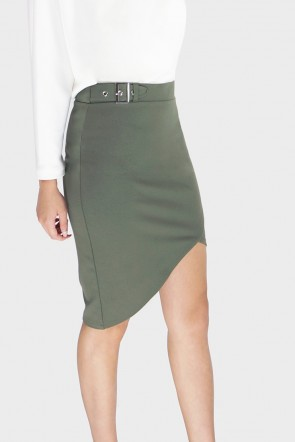 Anabel Asymmetrical Buckle Wrap Skirt
