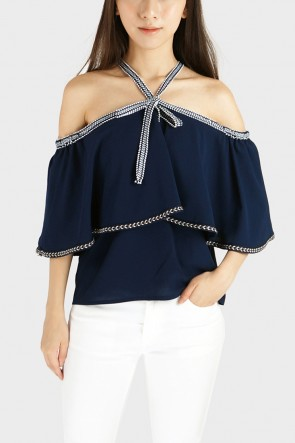 Beatrice Off The Shoulder Halterneck Blouse - Navy