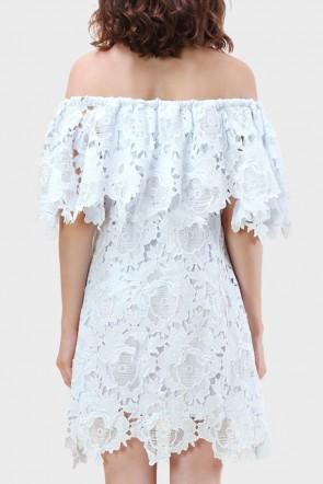 Brianna Floral Crochet Off The Shoulder Dress