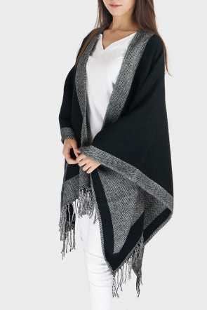 Brielle Fringed Knit Poncho