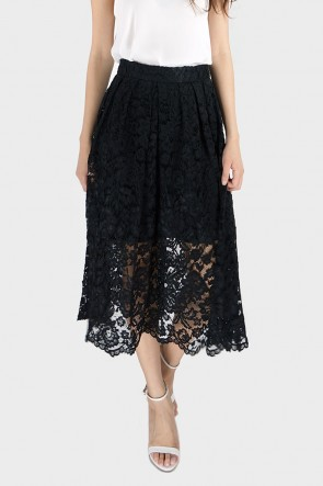 Gilda Pleated Guipure Lace Midi Skirt - Black