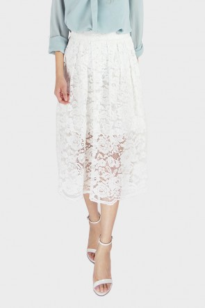 Gilda Pleated Guipure Lace Midi Skirt - White