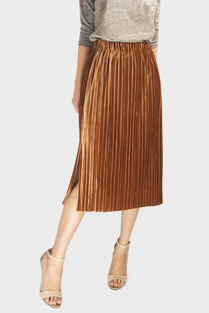 Jamya Velvet Pleated Midi Skirt - Camel