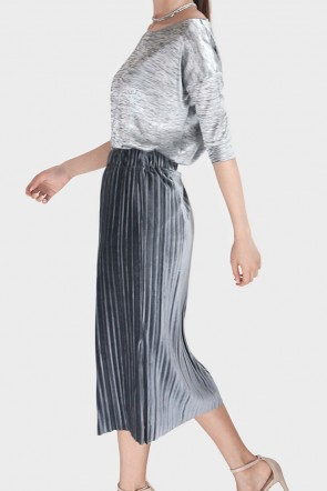 Jamya Velvet Pleated Midi Skirt - Grey