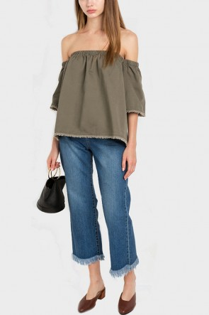 Jolyn Off the Shoulder Cotton Denim Top