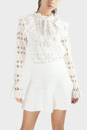 Sascha Victorian Lace Top - White