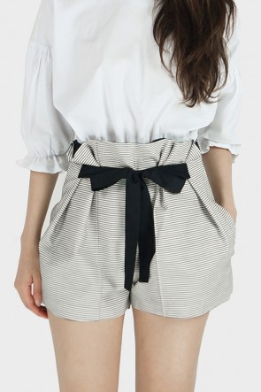 Annetta Paperbag Waist Striped Shorts